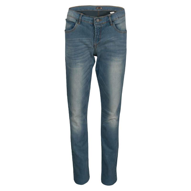 Roberto Cavalli Blue Faded Effect Denim Stretch Jeans L