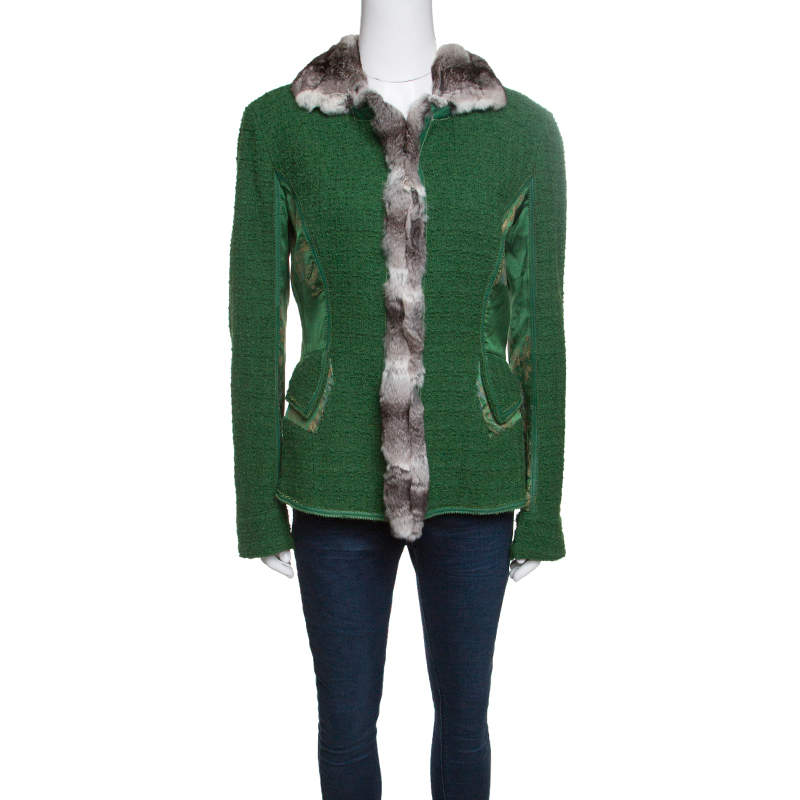 Roberto Cavalli Green Textured Wool Fur Trim Jacket M