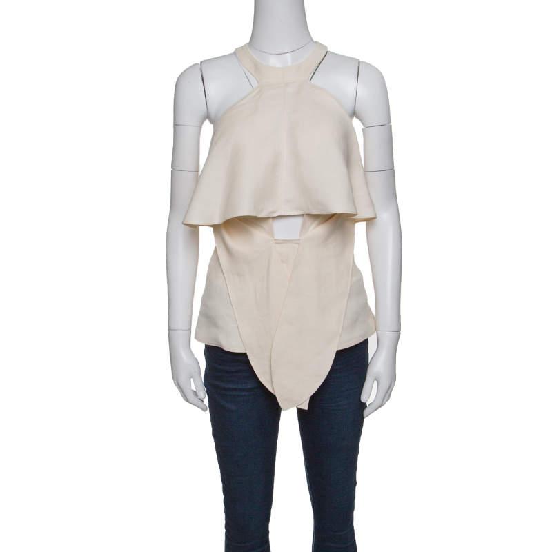Roberto Cavalli Firenze Beige Linen Ruffled Front Tie Detail Sleeveless Top L