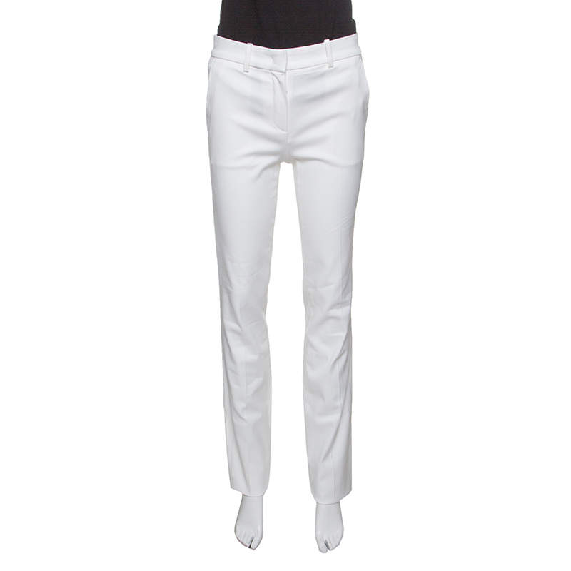 Roberto Cavalli Firenze White Cotton High Waist Straight Fit Pants M