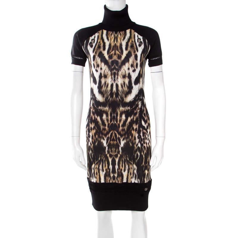 Roberto Cavalli Black Animal Printed Wool Blend Turtleneck Sweater Dress M