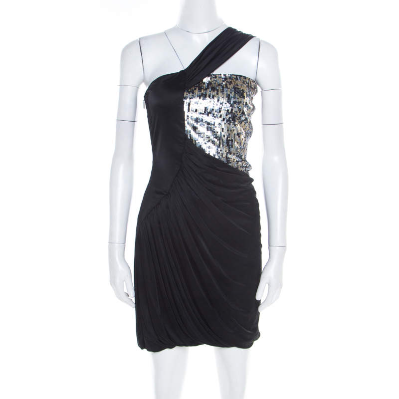 Roberto Cavalli Black Knit Sequined Bodice Draped One Shoulder Dress M