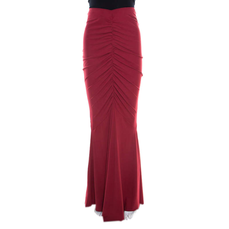 Roberto Cavalli Red Ruched Knit Mermaid Maxi Skirt  L