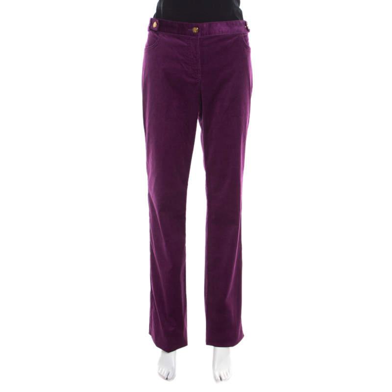 Roberto Cavalli Purple Corduroy Buckled Back Pocket Detail Boot Cut Pants M