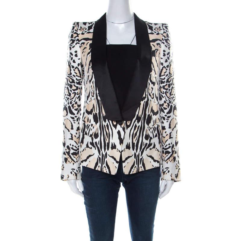Roberto Cavalli Beige & Black Leopard Print Silk Blazer S