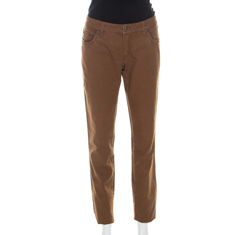 Roberto Cavalli Brown Stretch Cotton Leather Piping Detail Jeans M