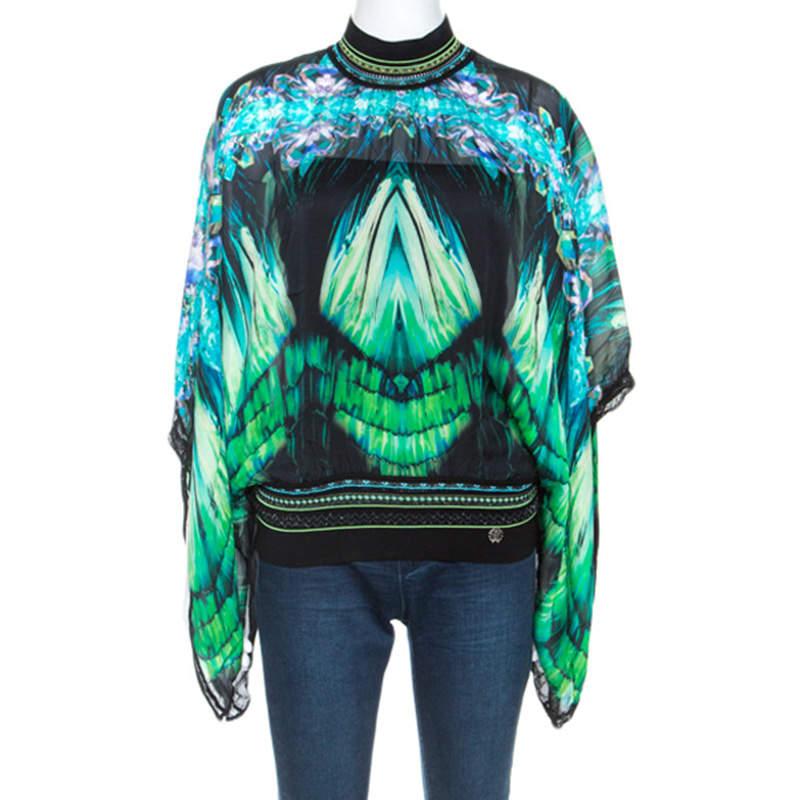 Roberto Cavalli Green Printed Silk Knit Trim Detail Batwing Top S