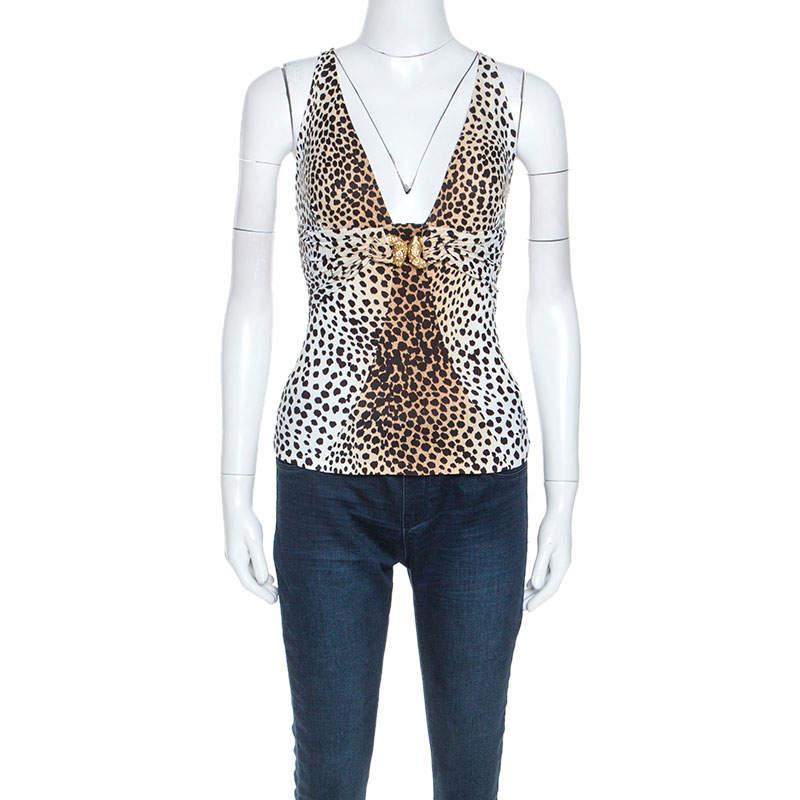 Roberto Cavalli Beige Leopard Print Stretch Ruched Detail Sleeveless Top XS