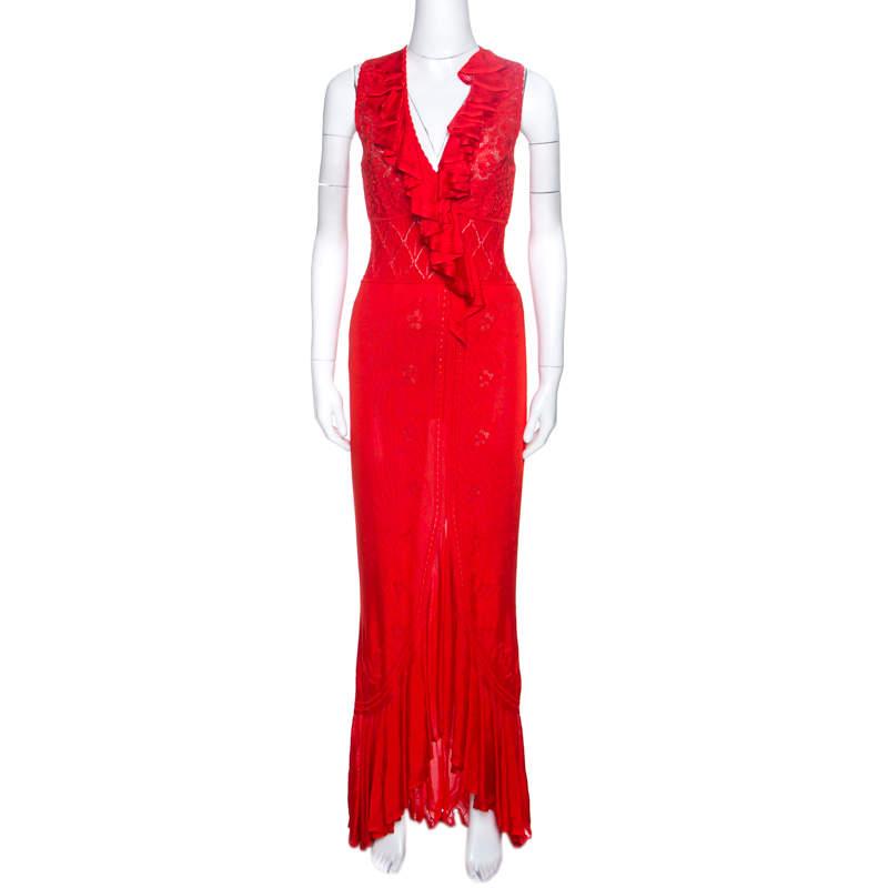 Roberto Cavalli Red Pointelle Knit Ruffle Trim Maxi Dress S