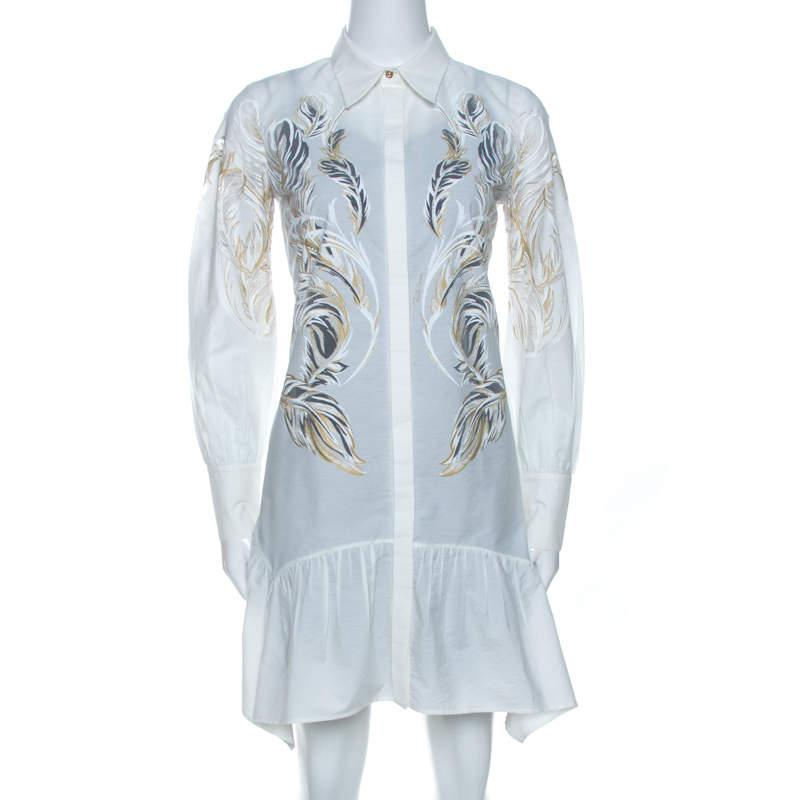 Roberto Cavalli White Brasso Feather Print Cotton Shirt Dress S