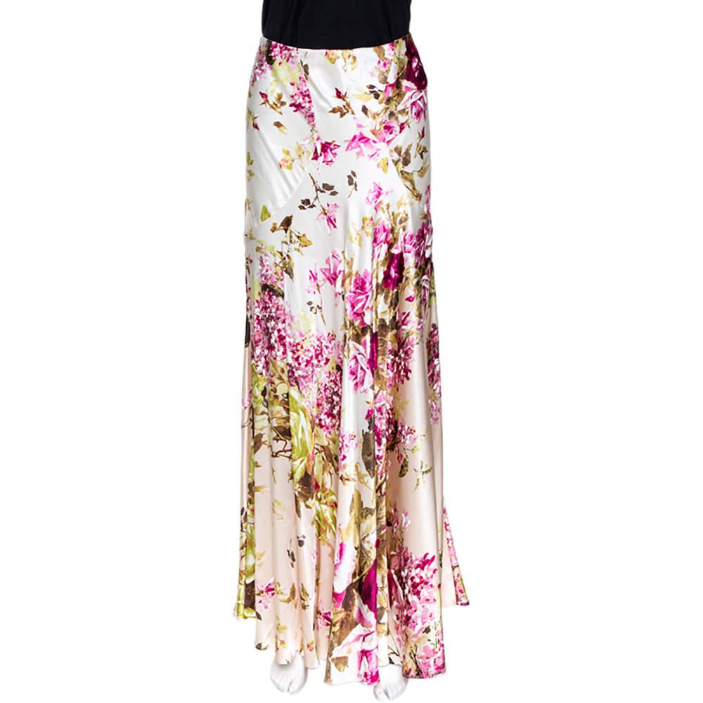 Roberto Cavalli Cream Floral Print Silk Satin Maxi Skirt L