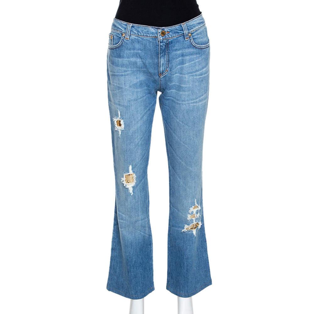 Roberto Cavalli Blue Distressed Denim Embellished Patch Jeans M