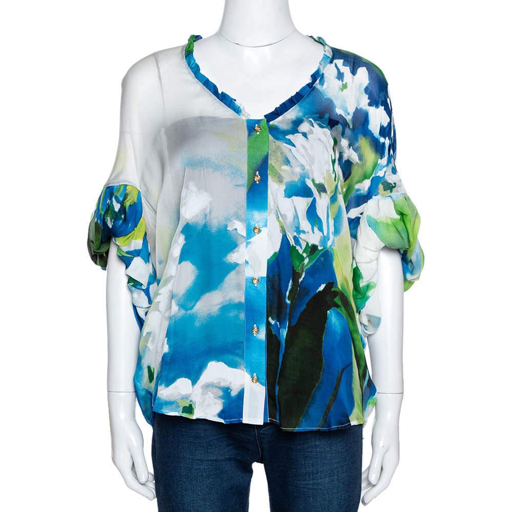 Roberto Cavalli Blue Printed Silk Gathered Sleeve Sheer Blouse M