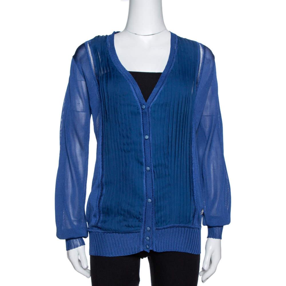 Roberto Cavalli Midnight Blue Silk Knit Pleated Cardigan M