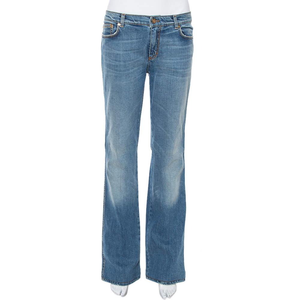 بنطلون جينز روبرتو كافالي ساق مستقيمة دينم نمط باهت أزرق L