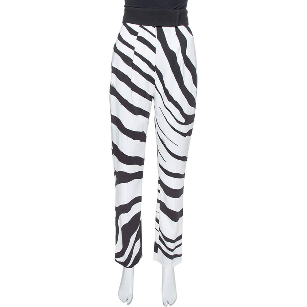 Roberto Cavalli White/Black Zebra Print High Wide Leg Trouser M