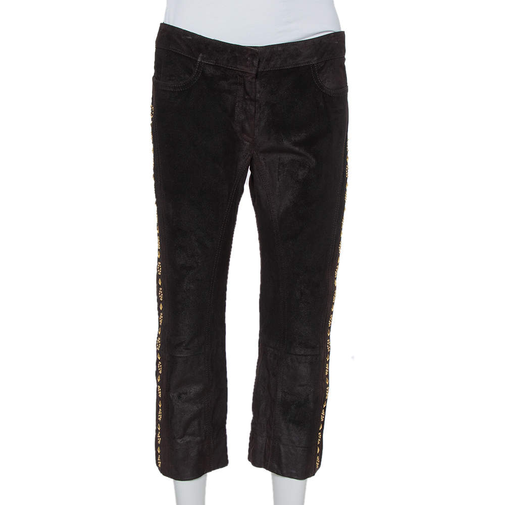 Roberto Cavalli Brown Leather Vintage Cropped Trousers M