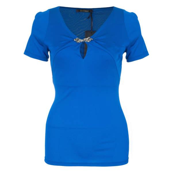 Roberto Cavalli Blue Stretch Jersey Top S