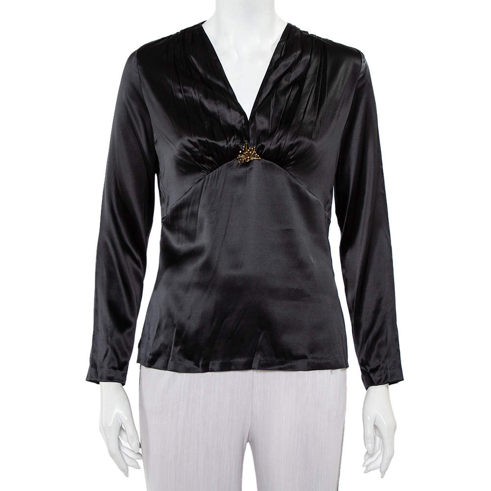Roberto Cavalli Black Satin Ruche Detail Long Sleeve Top L