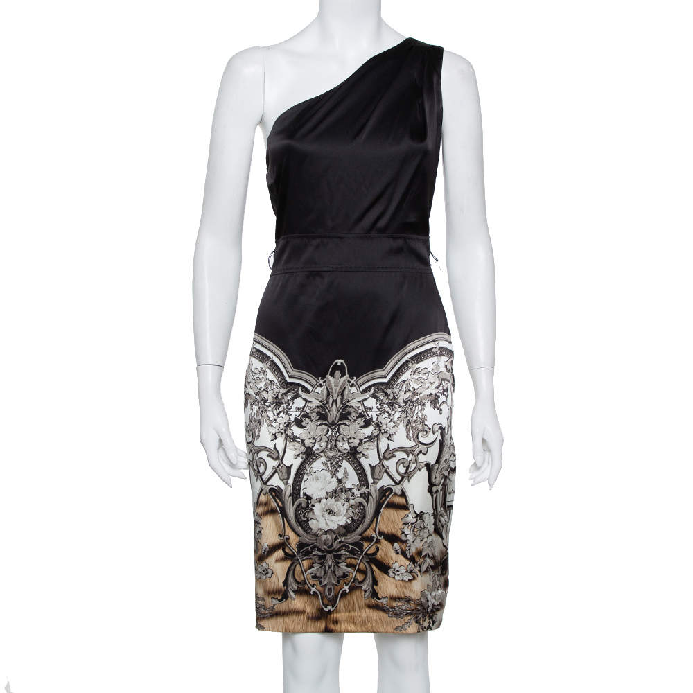 Roberto Cavalli Black Printed Satin One Shoulder Dress S