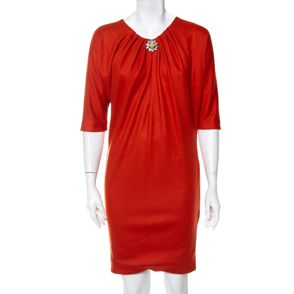 Roberto Cavalli Burnt Orange Wool Brooch Detail Shift Dress S