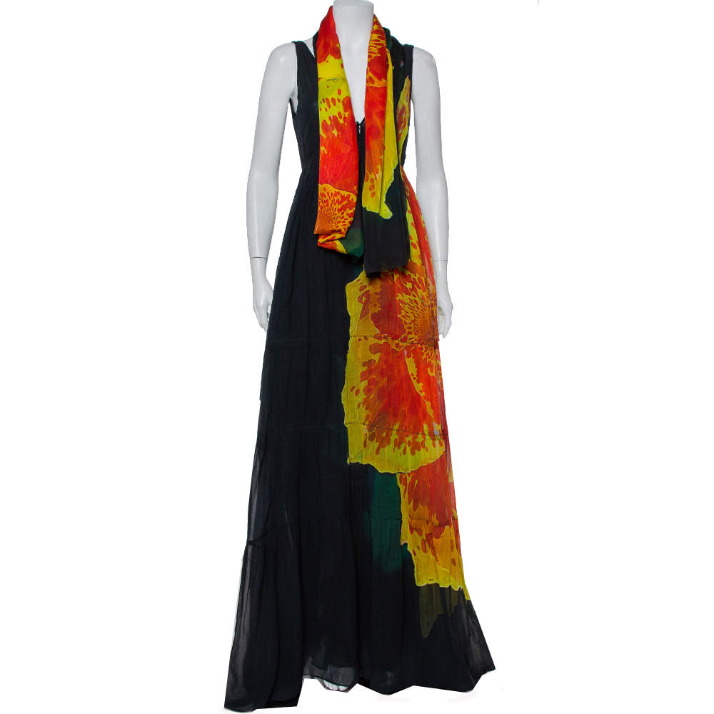 Roberto Cavalli Black Cotton Abstract Printed V Neck Maxi Dress M