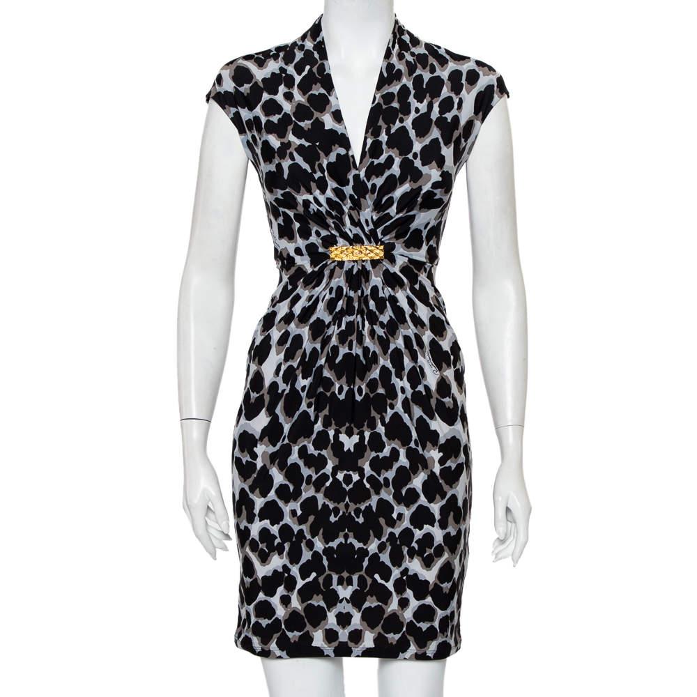 Roberto Cavalli Black & Grey Animal Printed Draped Waist Detail Mini Dress S
