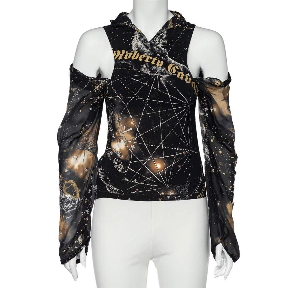 Roberto Cavalli Black Printed Silk Cold Shoulder Blouse M
