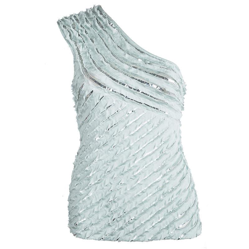 Roberto Cavalli Powder Blue Silk Ruffled Sequin Embellished One Shoulder Top S