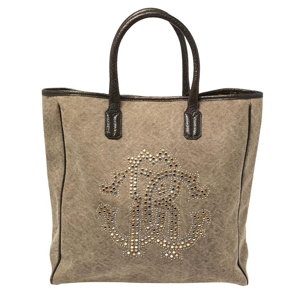 Roberto Cavalli Moss Green Canvas and Leather Studded Logo Tote