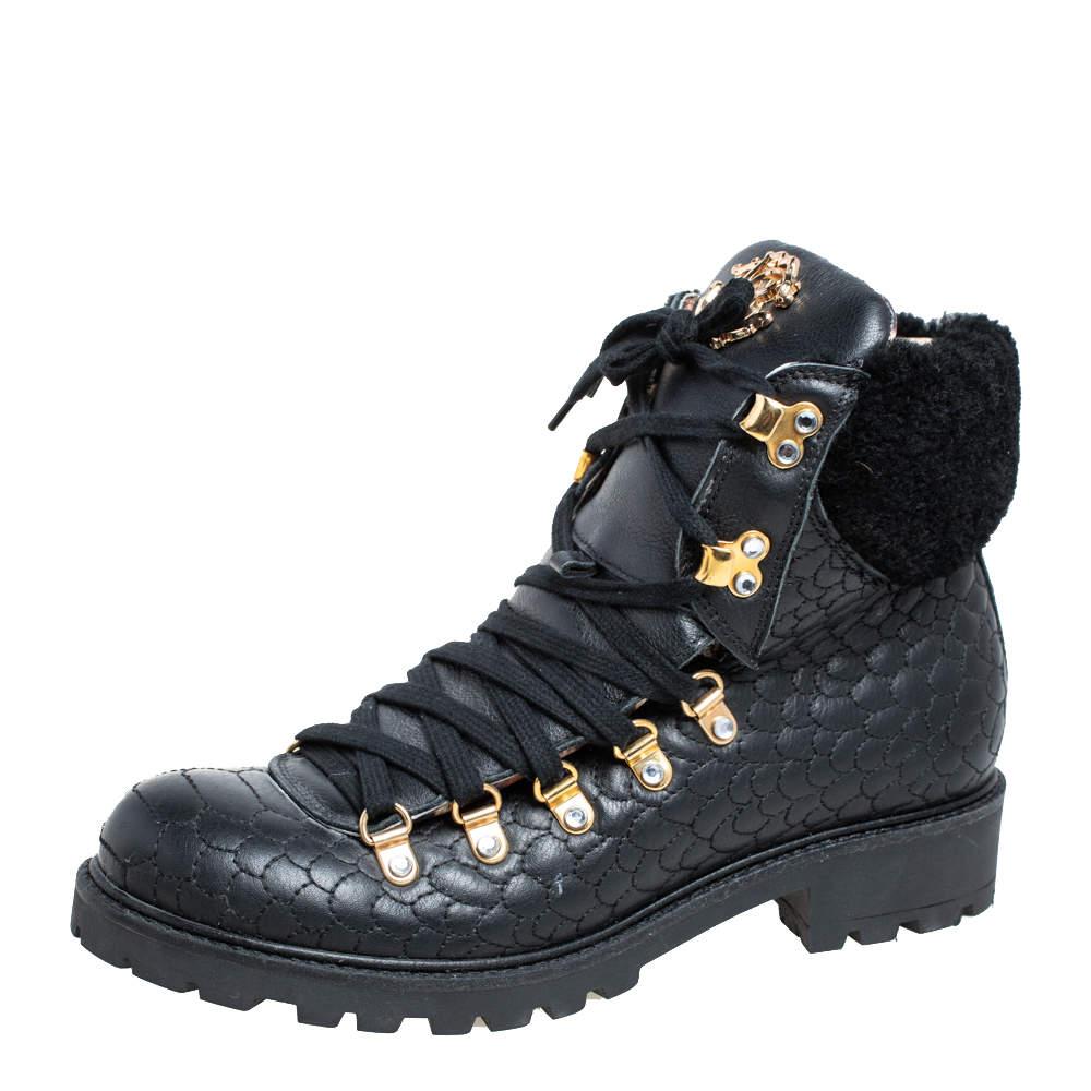 Roberto Cavalli Black Leather Combat Boots Size 38