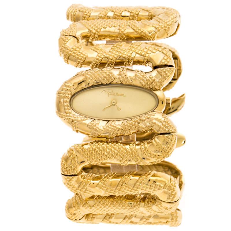 ساعة يد نسائية روبرتو كافالي كليوباترا أر7253195517 ستانلس ستيل مطلي ذهب أصفر 40 مم