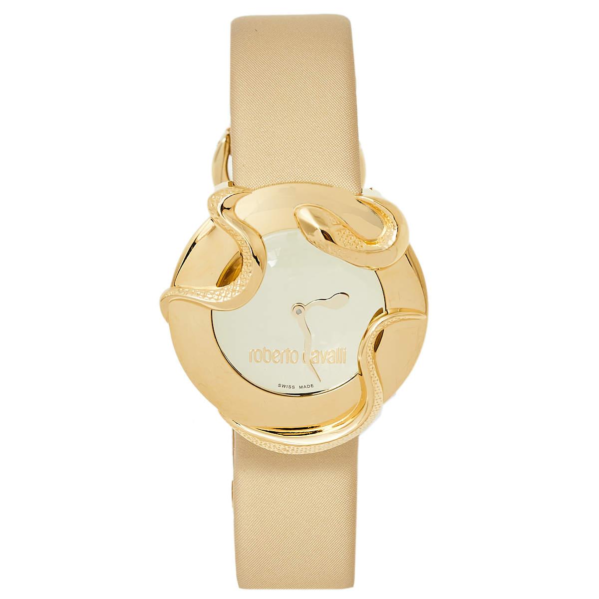 ساعة يد نسائية روبرتو كافالي 7251165817 ستانلس ستيل مطلية بالذهب  ثعبان  38 مم