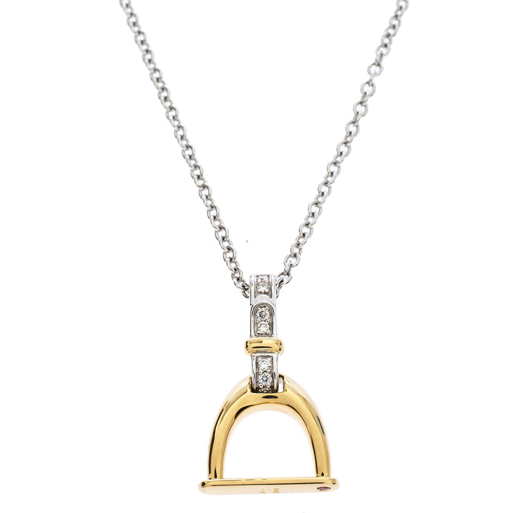 Roberto Coin Cheval Stirrup Diamond Two Tone 18K Gold Pendant Necklace