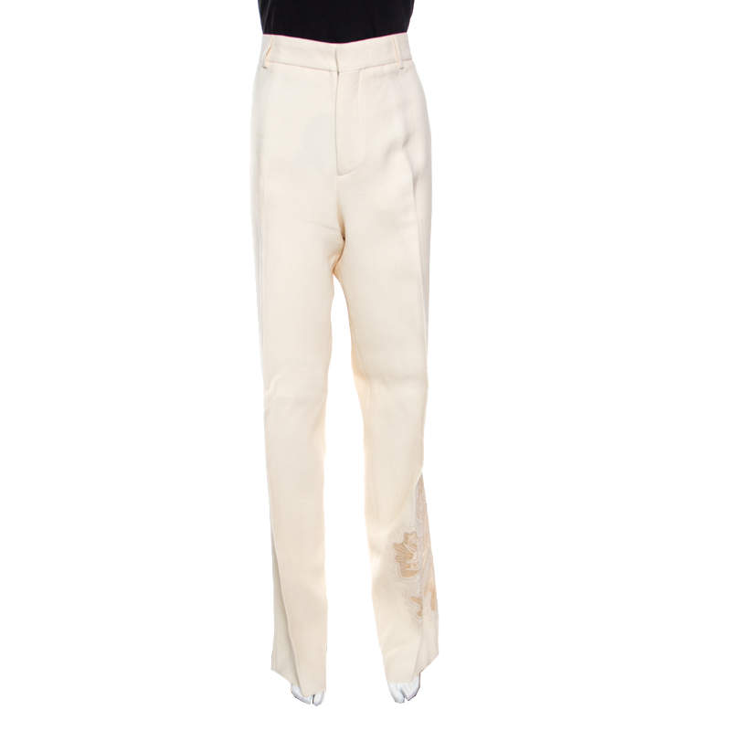 Rochas Cream  Floral Embroidered Mesh Detail Tailored Trousers XL