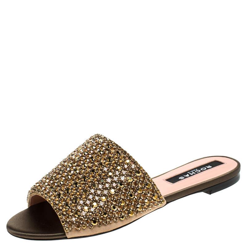 Rochas Beige Suede Crystal Embellished Flat Mule Slides Size 36.5