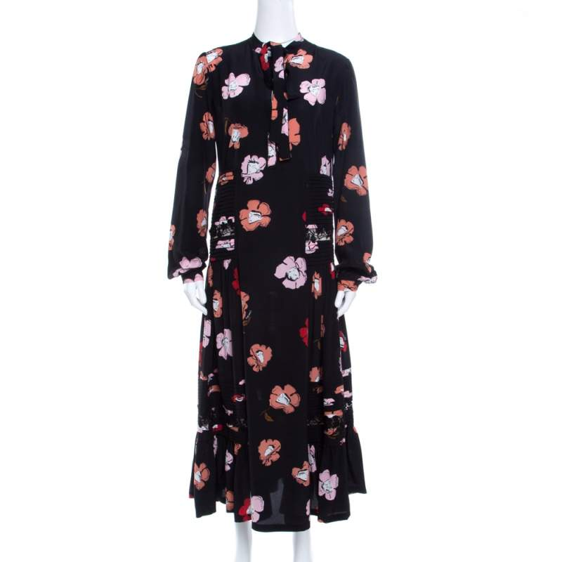 Rochas Black Floral Printed Silk Lace Trim Pintuck Detail Midi Dress M