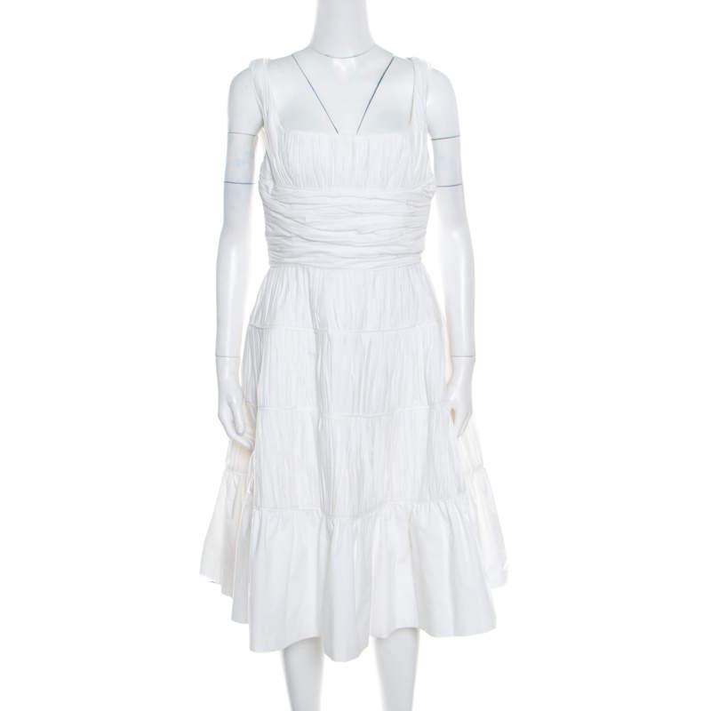 Rochas White Ruched Cotton Square Neck Paneled A Line Dress L