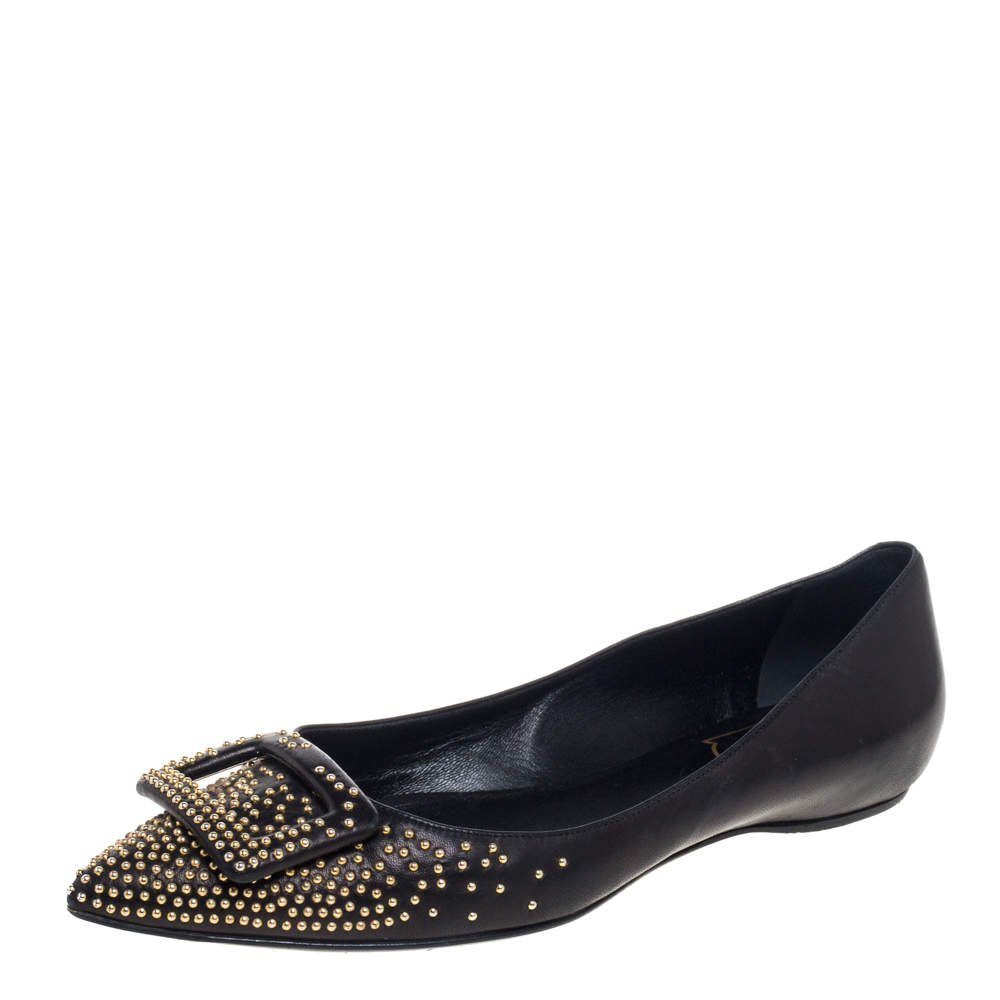 Roger Vivier Black Studded Leather Gommettine Ballet Flats Size 37