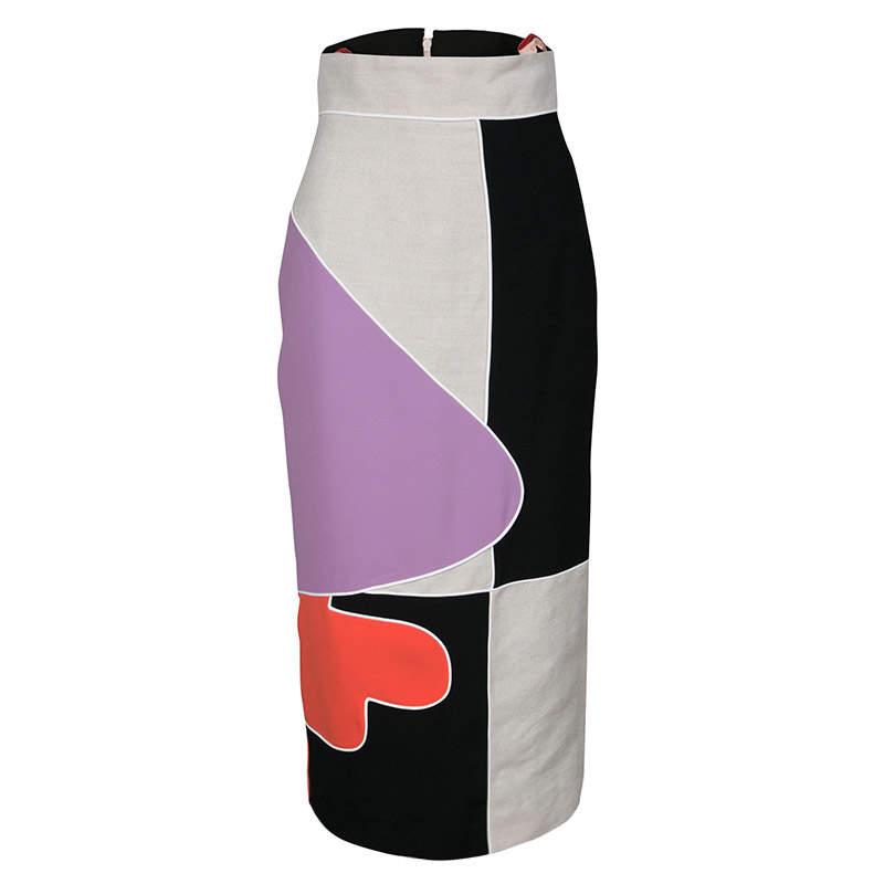 Roksanda Ilincic Geometric Colorblock Reza Midi Pencil Skirt S