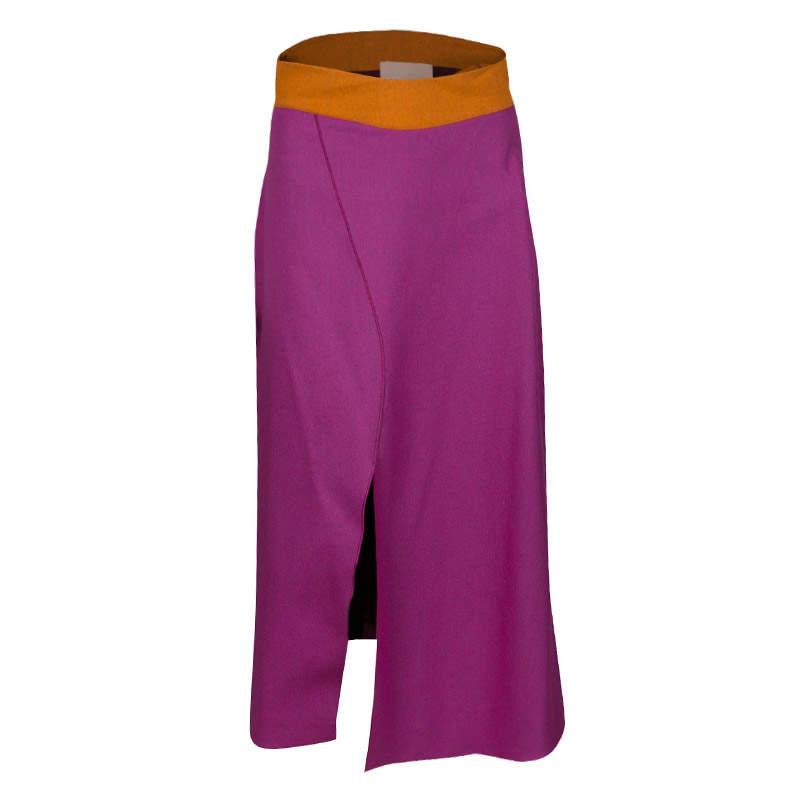 Roksanda Fuschia Wool Contrast Waist Slit Detail Edner Midi Skirt M