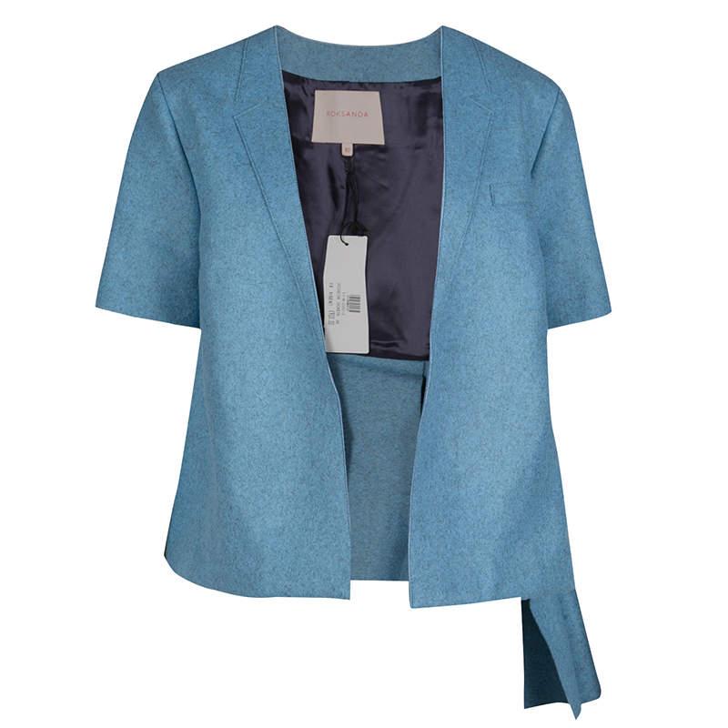 Roksanda Ilincic Powder Blue Felted Wool Asymmetric Delmore Jacket M