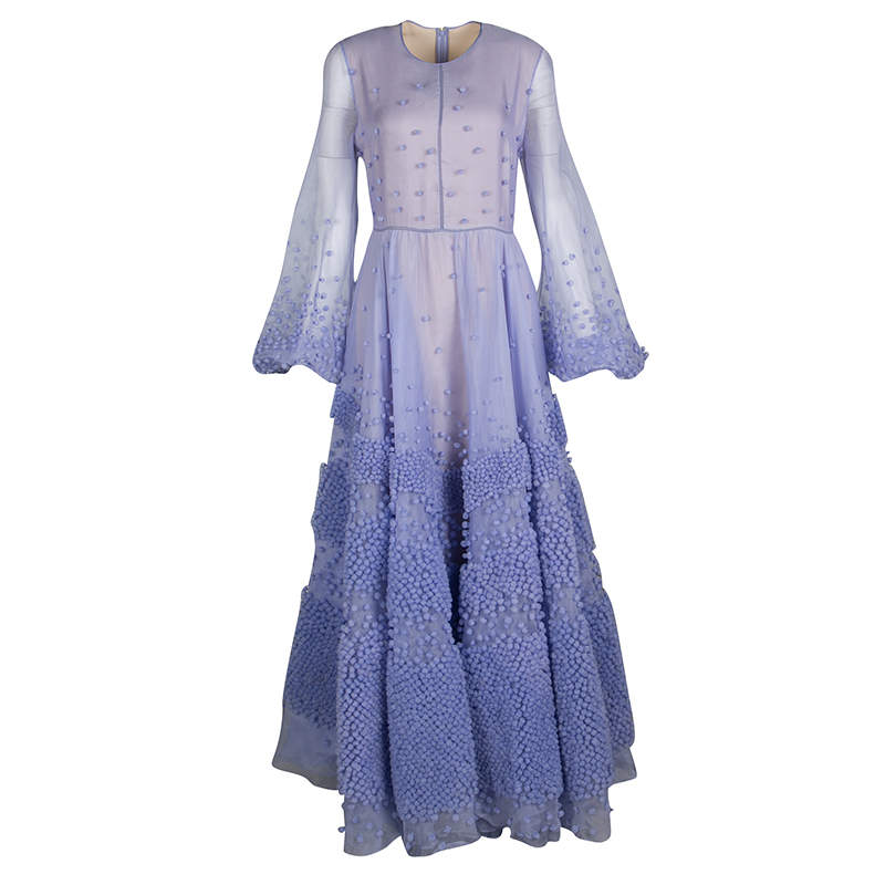 Roksanda Ilincic Limited Edition Lilac Silk Organza Bobble Embellished Viola Gown M