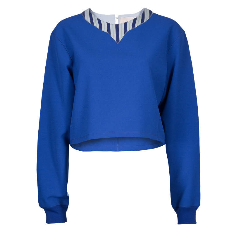 Roksanda Ilincic Blue Oversized Long Sleeve Crop Top M
