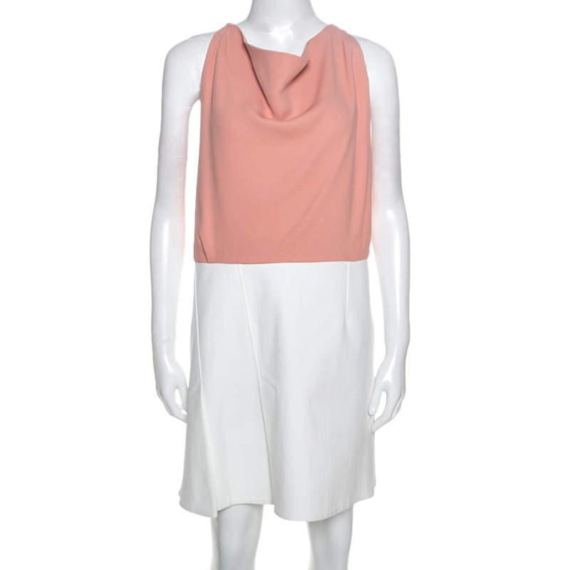 Roland Mouret Colorblock Sleeveless Cutout Back Detail Dress L