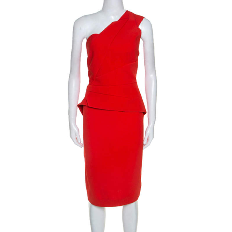 Roland Mouret Red Crepe One Shoulder Abuta Dress L