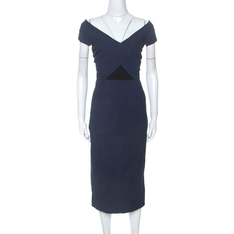 Roland Mouret Navy Blue Floral Waffle Cotton Grendon Dress M
