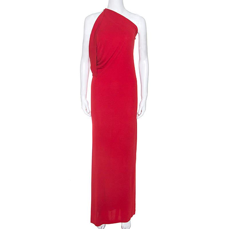 Roland Mouret Red Crepe Asymmetric One Shoulder Maxi Dress M