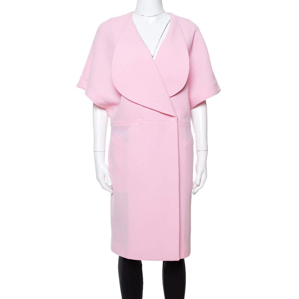 Roland Mouret Light Pink Wool Crepe Palmer Coat M