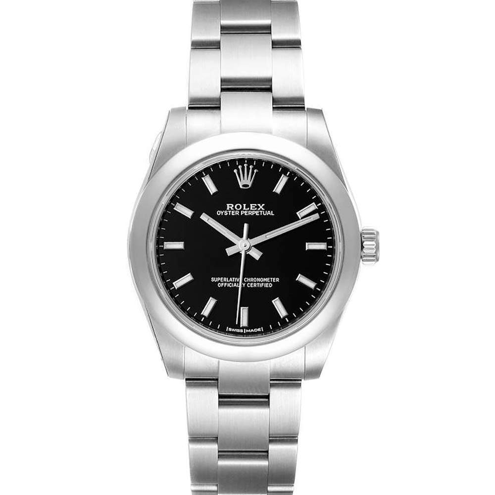 Rolex Black Stainless Steel Oyster Perpetual 177200 Women's Wristwatch 31 MM